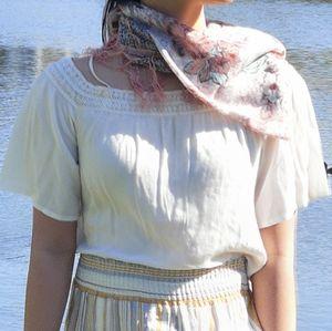 Crochet peasant blowse shirt top
